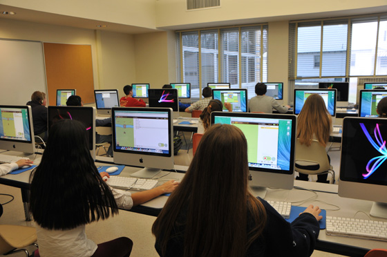 Shaker Junior High School students participate in the Hour of Code.