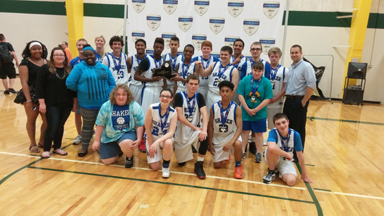 The 2015 Shaker Unified Basketball Team, with Coaches Doak and Torre.