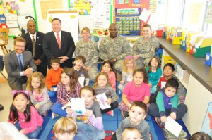 Mrs. Bauer's Latham Ridge first graders receive a visit from three Army National Guard soldiers, Albany County Executive, Dan McCoy, and Albany County Veterans Services Bureau Director, Charles Burkes.