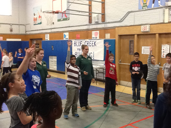 Blue Creek fourth graders participate in anti-bullying activities.