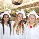 Slide 2 - photos of girls in white caps and gowns at graduation