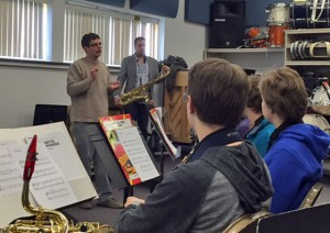 picture of musicians working with SHS Jazz Ensemble