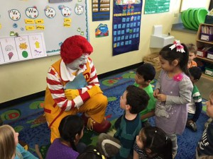 Ronald visits with Boght Hills students