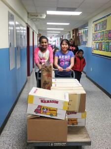 Students help collect and sort donated items.