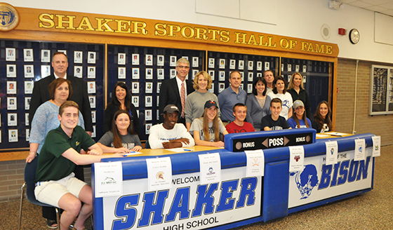Athletes during the mock signing