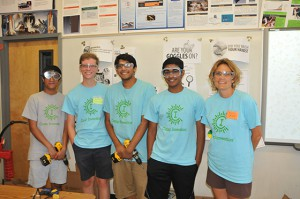 Camp Invention high school leadership interns with teacher Hope Dils.