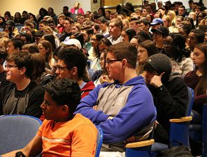 picture of the student audience at assembly