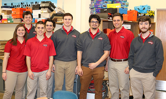 Eight RPI Ambassadors work with 400 SJHS 7th and 8th grade students on engineering projects during their technology classes.