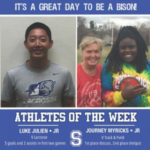 From left to right: Luke Julien, Junior, Varsity Lacrosse; and, Journey Myricks, junior, Varsity Track and Field