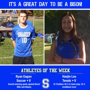 It's a great day to be a bison. Two student athletes are in their athletic attire. Athletes of the week are from left to right: Varsity Soccer Player, Ryan Eagan and Varsity Tennis player, Haejin Lee