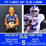 Athletes of the Day: Spirit Week Edition which includes (from left to right) Freshman Volleyball Player Brianna Hardwick and Varsity Football Player Jack Bush