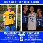Athletes of the Day: Spirit Week Edition which includes (from left to right) Modified Field Hockey Player Davin Testo and Varsity Field Hockey Player Kelly Fitzpatrick