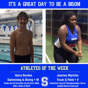 """Picture reads """"it's a great day to be a bison!"""" and frames two pictures; one with a boy standing in front of a pool with goggles on his head; the other of a girl standing in front of nets holding a weight"""