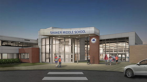 A rendering of the entrance to the new Shaker Middle School.