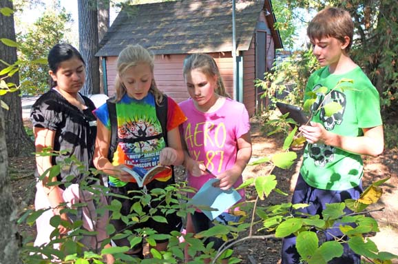 As part of a scavenger hunt at  YMCA Camp Chingachgook, students were given a list of plants and animals found in nature, but were written in Latin. Students had to decipher each of the items, take pictures of them on an iPad, and submit their findings electronically.