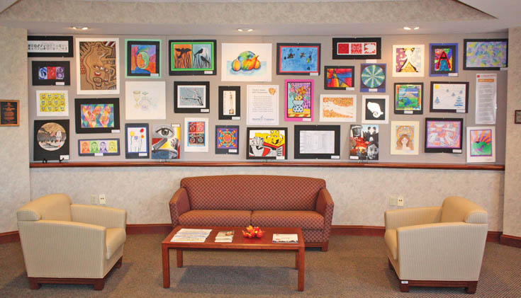The New York State School Boards Association displays a collection of North Colonie student artwork every fall. (Photo by Barbara Bennett, NYSSBA )