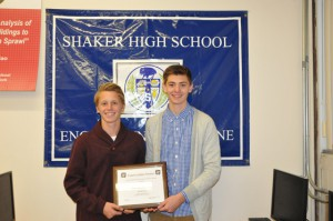 Shaker High School seniors Brennan Jelstrom and Kevin Lindsay, the 2014 Future Leaders Pavilion award recipients.