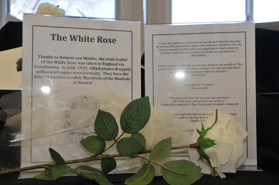The White Rose exhibit on display at Shaker High School.