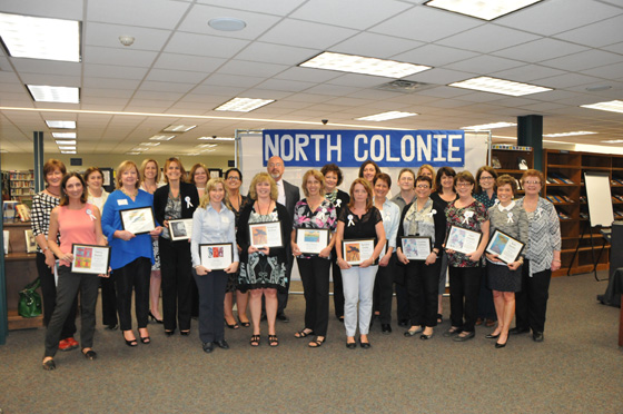 North Colonie's 2015 Employee Recognition Ceremony honorees with Superintendent Joseph Corr, Assistant Superintendent for Curriculum and Instruction, Kathy Skeals, and HR Director, Jenna Bongermino. Not all honorees are pictured.