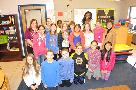 15 of Ruth Rankin's sixth grade students, Rankin's Rockstars; North Colonie Kids Care December feature.