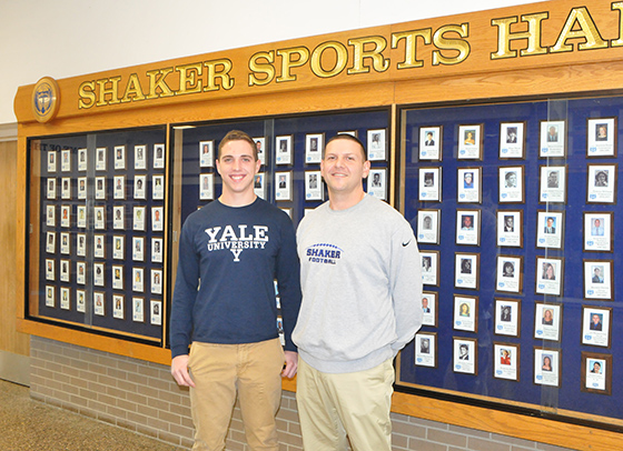 2015 Shaker football team captain, Brendan MacPhee and Head Coach Greg Sheeler.