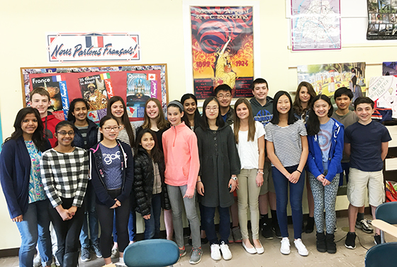 21 Shaker Junior High School students earned top scores on the National French exam.