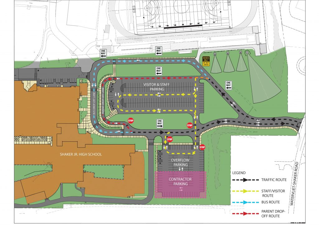 diagram of SJHS with arrows denoting traffic flow and parking