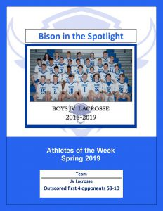 a picture of the jv lacrosse team for athletes of the week