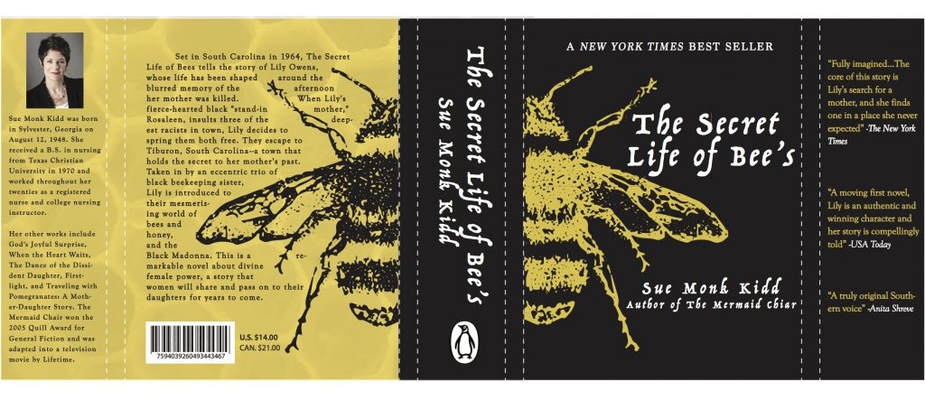 A book cover with a bee on it in yellow and black