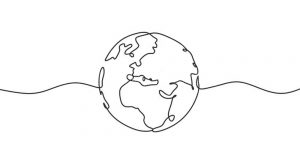 drawing of the world with squiggly lines